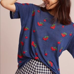 Banner Day Blue Cherry Embroidered Tee Shirt S 2